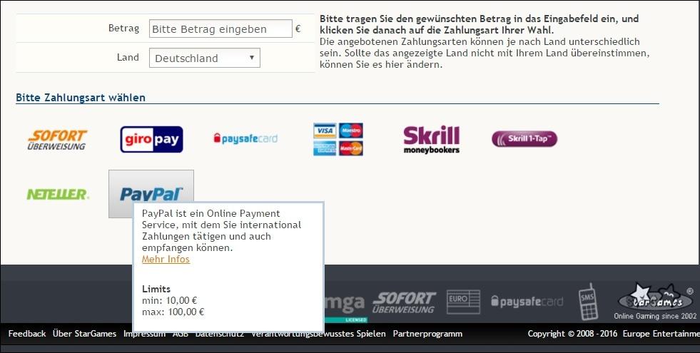 paypal casino einzahlen