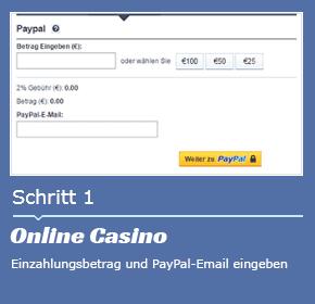 Mit Paypal im Online Casino einzahlen schritt 1