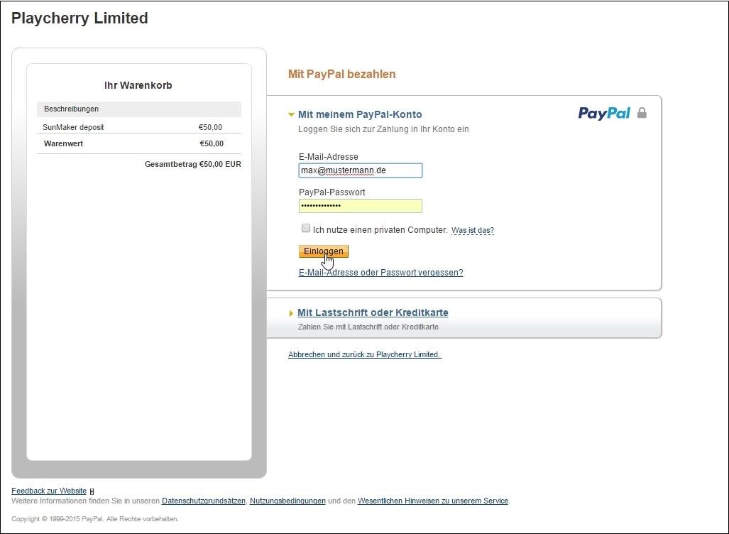 einzahlung paypal