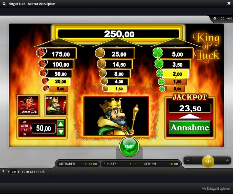 alles spitze merkur king of luck