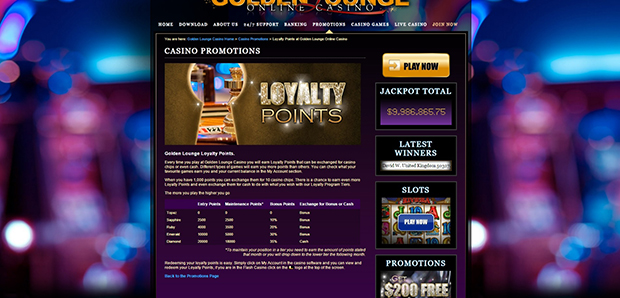 golden lounge paypal casino loyality points