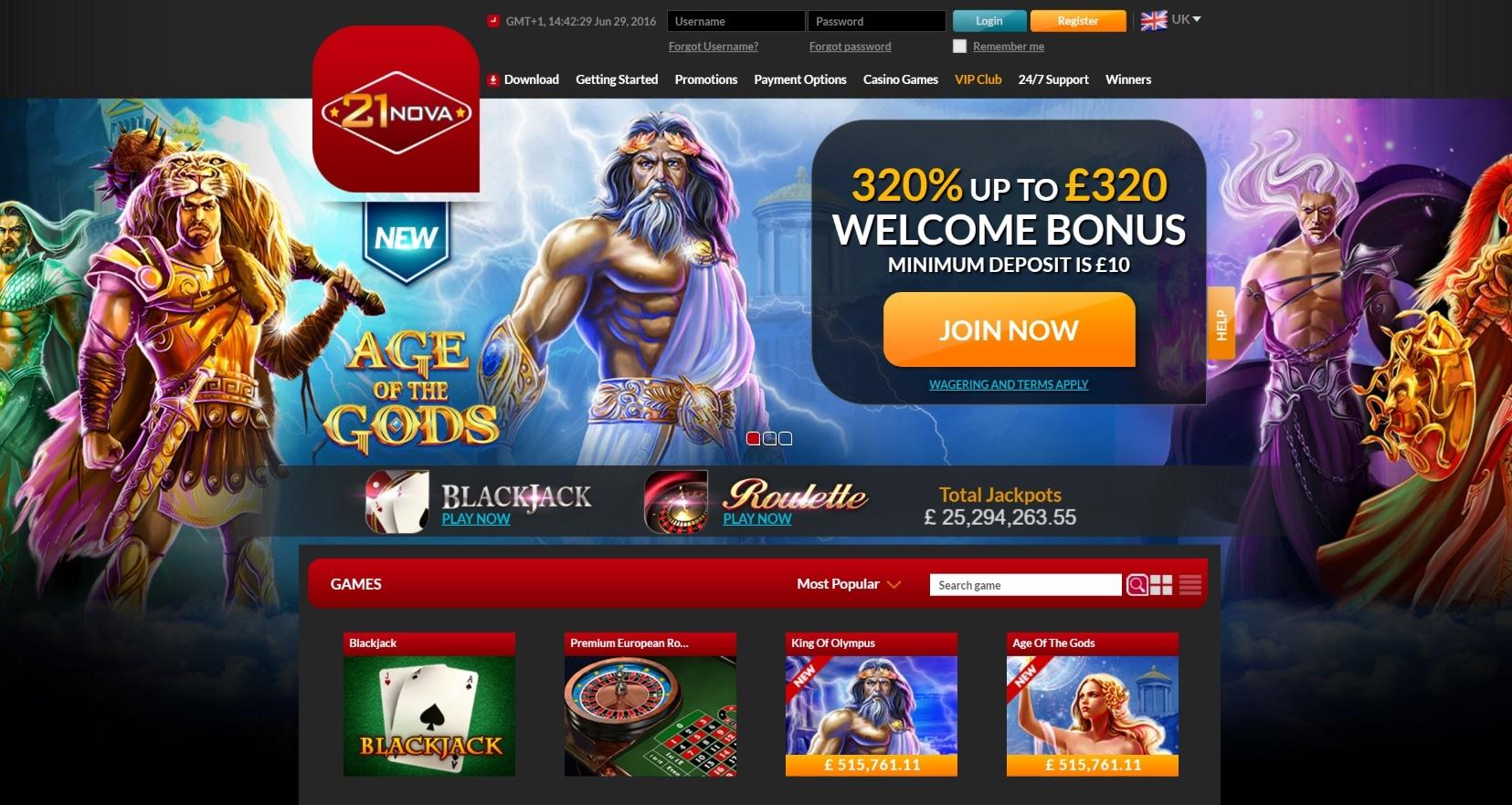 paypal casino site 21nova overview