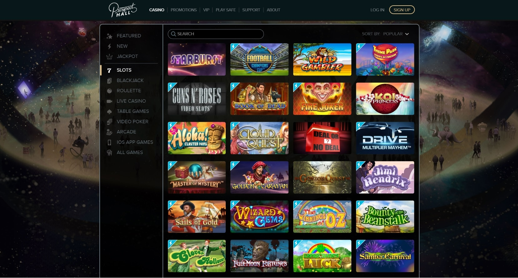 paypal casino site prospect hall games