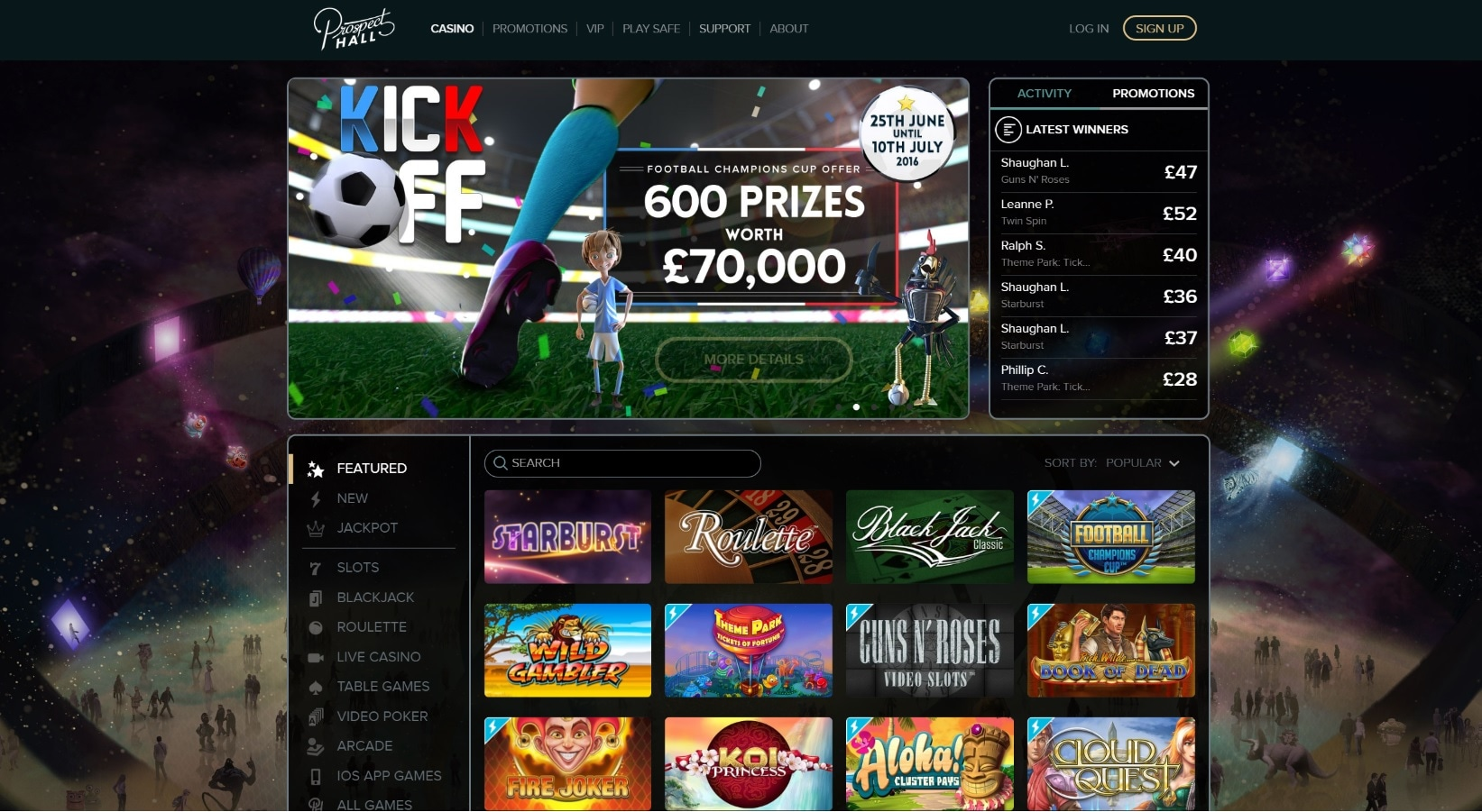 paypal casino site prospect hall overview