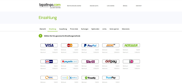 Lapalingo PayPal Casino Einzahlung