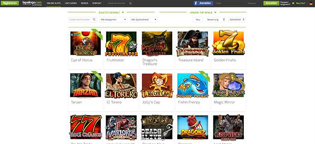 Lapalingo PayPal Casino Spielauswahl