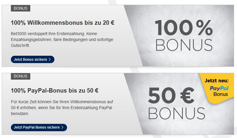 Sportwetten PayPal Bet3000 Bonus