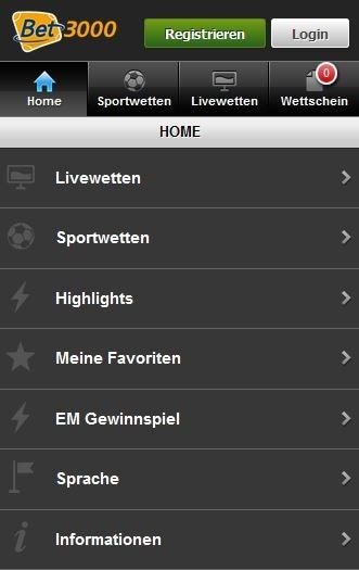 Sportwetten PayPal Bet3000 Smartphone