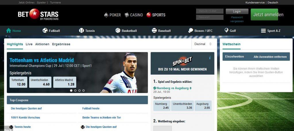 Sportwetten PayPal Betstars Übersicht