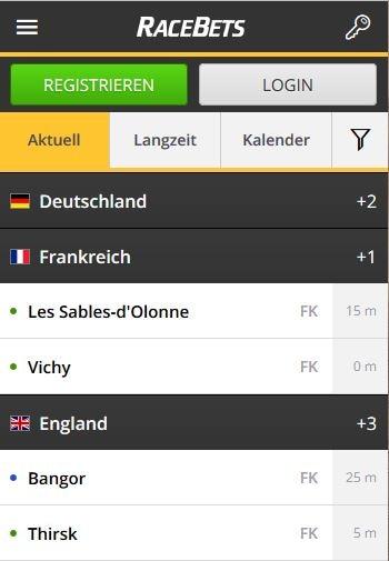 Sportwetten PayPal Racebets Smartphone