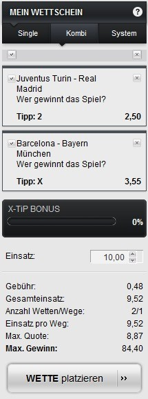 Sportwetten PayPal XTip Wettschein