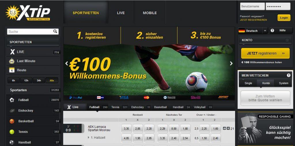 Sportwetten PayPal XTip Übersicht