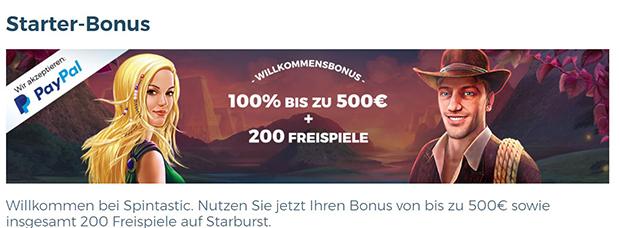 Spintastic PayPal Casino Bonus