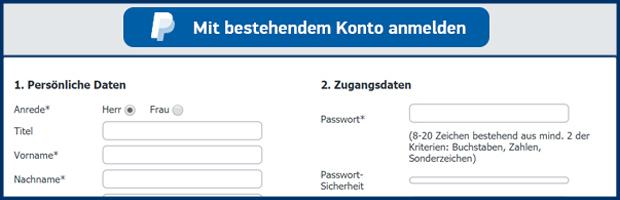 schnelle anmeldung mit bestehendem paypal konto banner
