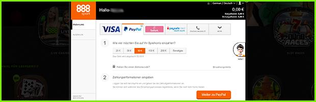 888sport casino und sportwetten einzahlung mit paypal