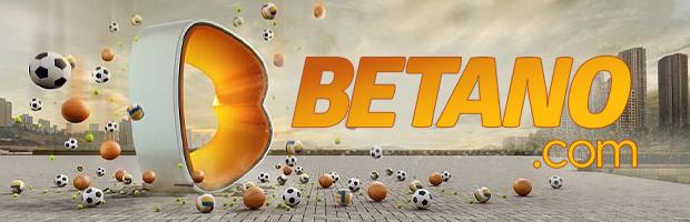 betano online casino content teaser lastschrift banner - logo auf gepflasterten steinboden, sport bälle fallen vom himmel