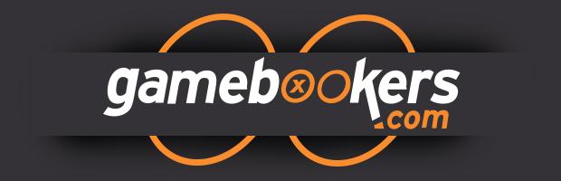 gamebookers online casino content teaser lastschrift banner - logo auf grauem hintergrund mit zwei orangen kreisen aus dem logo als hintergrund effekt