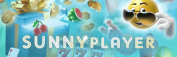 sunnyplayer online casino content teaser - logo und sonnen testimonial auf hellblauem hintergrund mit casino zubehör