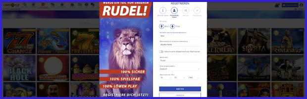 Löwenplay online casino anmeldemaske