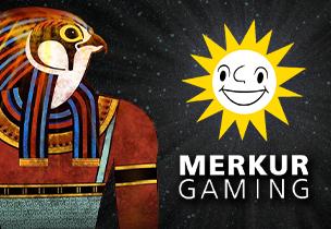 eye of horus slot als teaser für das merkur gaming universum mit der lachenden merkur sonne