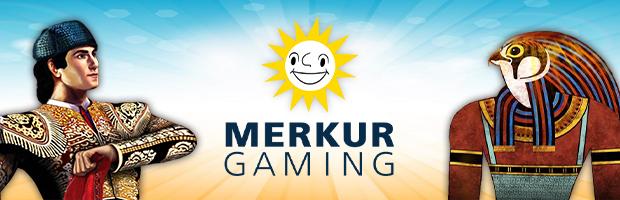 merkur gaming software provider banner mit eye of horus symbol horus und der matador von el torereo
