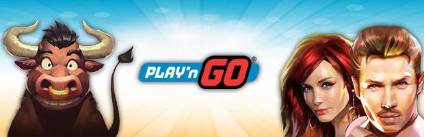 play'n go software provider banner mit mann und frau von wild chase und dem bullen von bull in a china shop